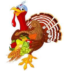 Turkey with cornucopia vector