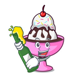 With beer ice cream sundae mascot cartoon vector