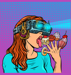 woman in virtual reality glasses eating sweets vector image