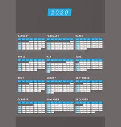 year calendar 2020 office vertical design vector image