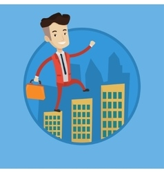 Businessman walking on the roofs of the buildings vector image