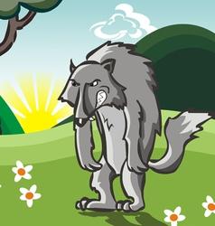 Cartoon Hungry Wolf vector image