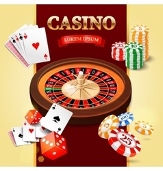 Casino background with roulette wheel game cards vector image