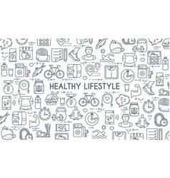 Healthy lifestyle thin line banner vector