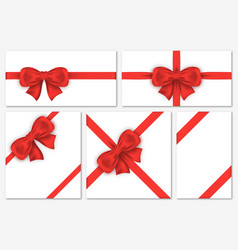 set of gift cards with luxury red bows decorative vector image vector image