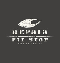 car repair badge with shabby texture vector image vector image