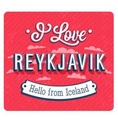 vintage greeting card from reykjavik vector image vector image
