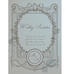Vintage wedding card vector