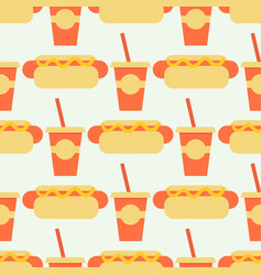 appetizing hot dog seamless pattern background vector image