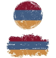 Armenian round and square grunge flags vector image