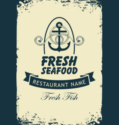 banner for seafood restaurant with anchor and rope vector image vector image