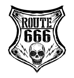 black route 666 sign on a white background vector image