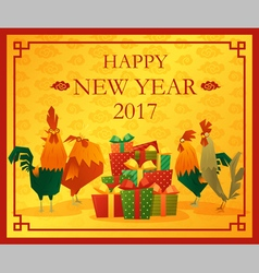Happy new year 2017 card with rooster 5 vector image