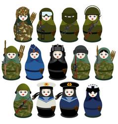 matryoshka soldiers vector image