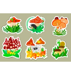mushrooms stickers vector image vector image