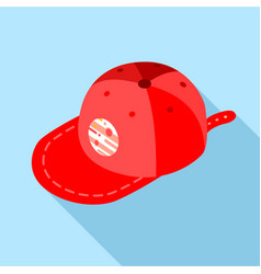 red baseball cap icon flat style vector image