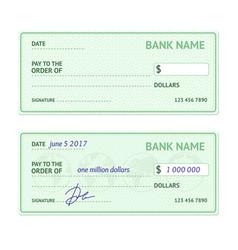 template blank bank check vector image vector image