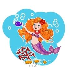 Cute mermaid vector image