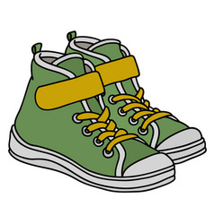 green childrens sneakers vector image vector image