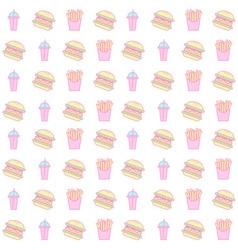 hamburger and french fries seamless pattern vector image vector image