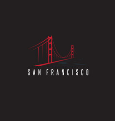 san francisco golden gate bridge design template vector image