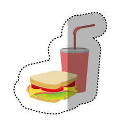 sandwich with soda flat icon vector image
