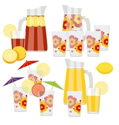 Set of pitcher and glasses vector image vector image