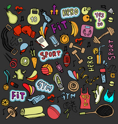 sports hand draw icon and elements fitness and vector image
