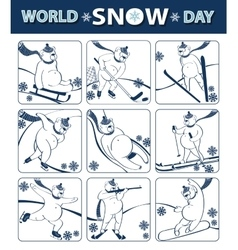 World snow dayBear plays winter sportIcons vector image