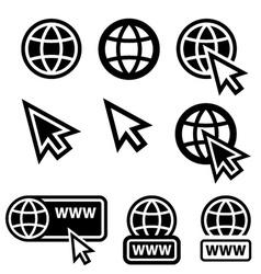 world wide web globe cursor icons vector image vector image