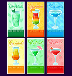 alcoholic cocktails banners set summer drinks vector image
