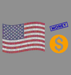 american flag mosaic dollar coin and distress vector image