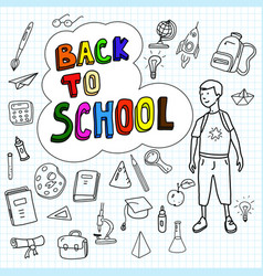 back to school poster with doodles drawn by hand vector image