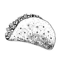 black ink pen outline detailed mexican taco icon vector image