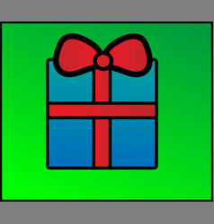 blue gift box with a red bow vector image