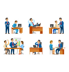 Boss interviewing woman worker candidate on job vector