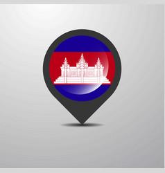Cambodia map pin vector