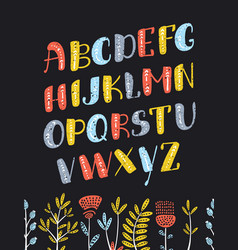 cartoon boho colorful alphabet vector image