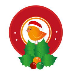 circular emblem of bird with christmas hat and vector image