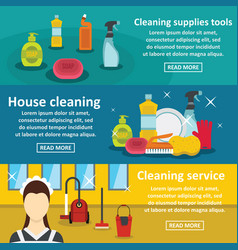 Cleaning tools banner horizontal set flat style vector