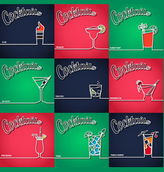 Cocktail Background Outline 1 vector image