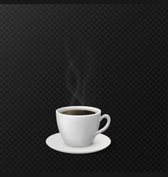 coffee cup with steam realistic mug and saucer vector image