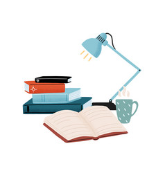 Composition with stack books table lamp vector