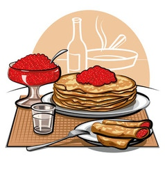Crepes with Raspberries for Breakfast vector