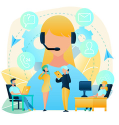 customers support with call center concept vector image