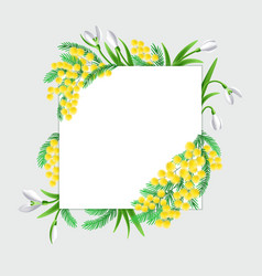 design square banner with spring flowers vector image
