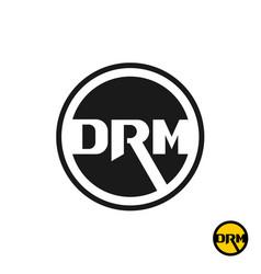 Digital rights management drm acronym logo three vector
