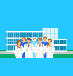 doctors and nurses team standing at hospital vector image