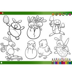 easter cartoons for coloring book vector image