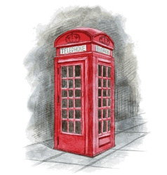 English telephone box drawn by hand vector